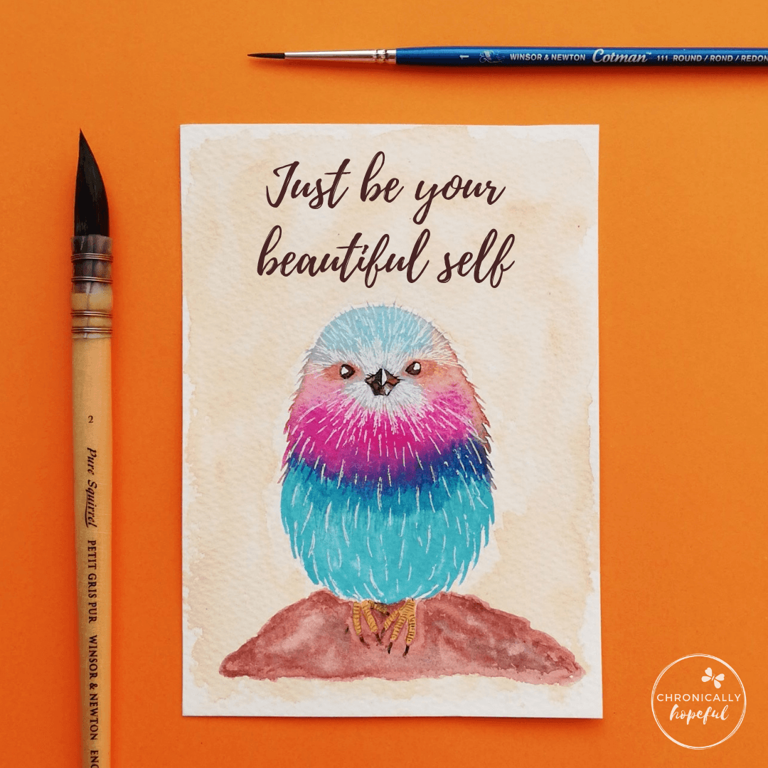 A colourful and fluffy little bird sitting on a rock. The words Just be your beautiful self lettered above it. Lilac-breasted Roller painted by Chronically Hopeful Char