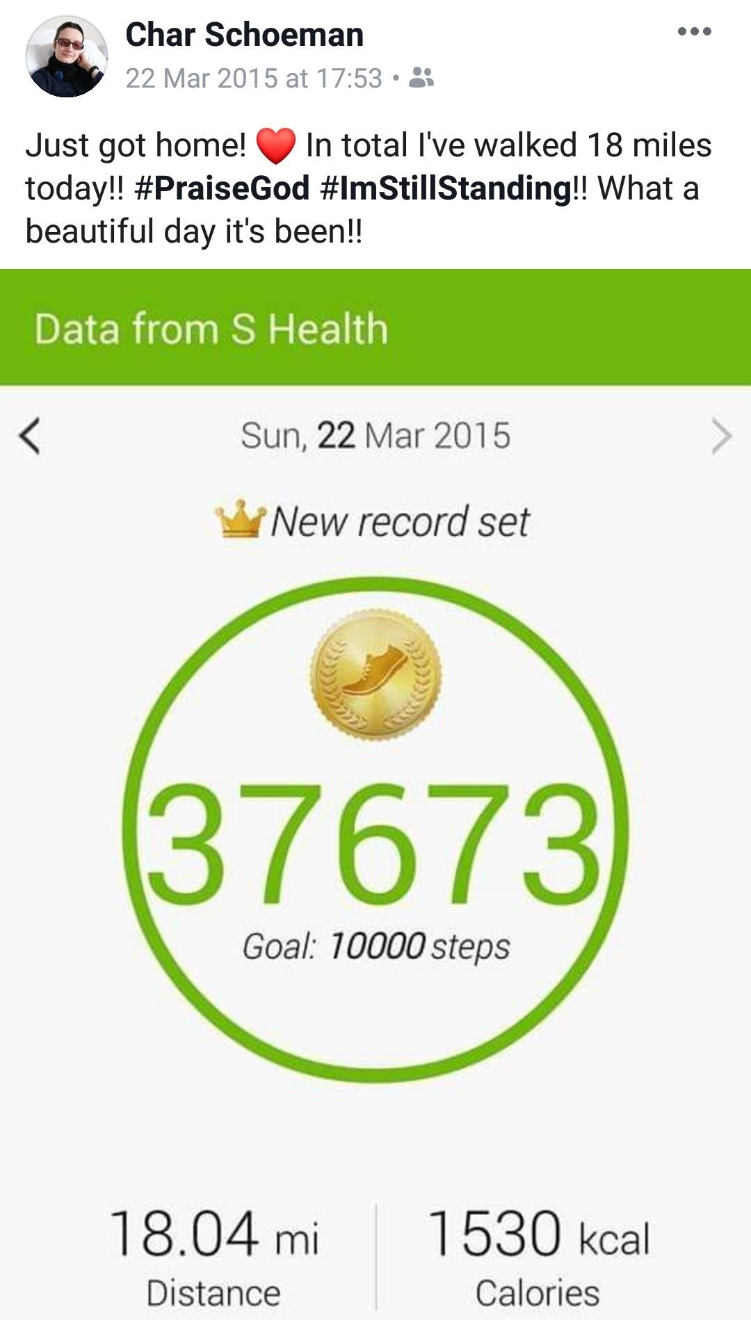 My pedometer for the day of the Marsden March, Chronically Hopeful