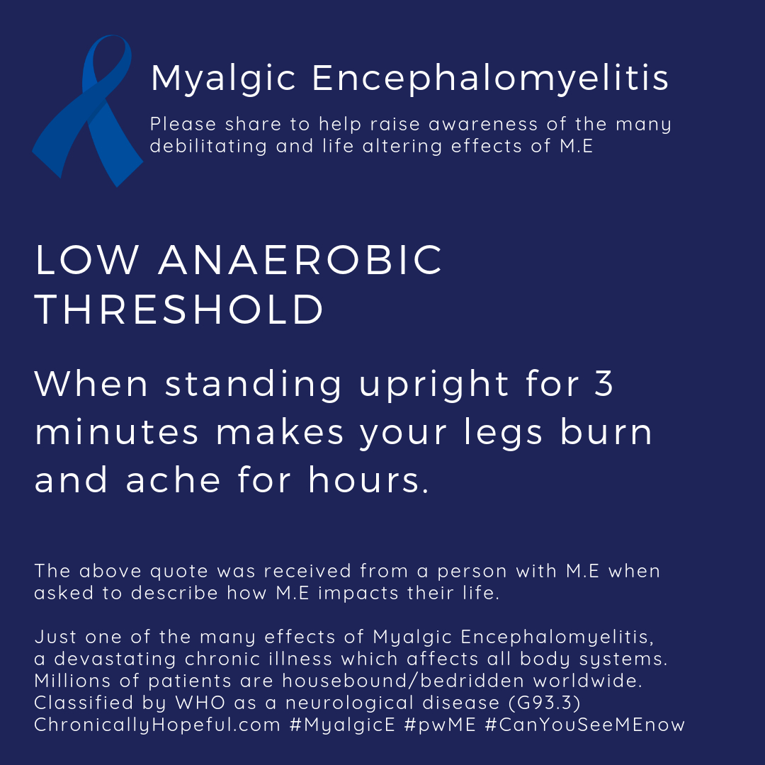 MyalgicE, Low anaerobic threshold standing causes burning pain, by ChronicallyHopeful