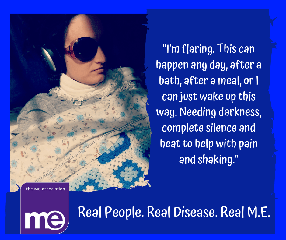 Char flaring, wearing headphones and dark glasses while in bed. Part of the ME Association's The Real ME Campaign