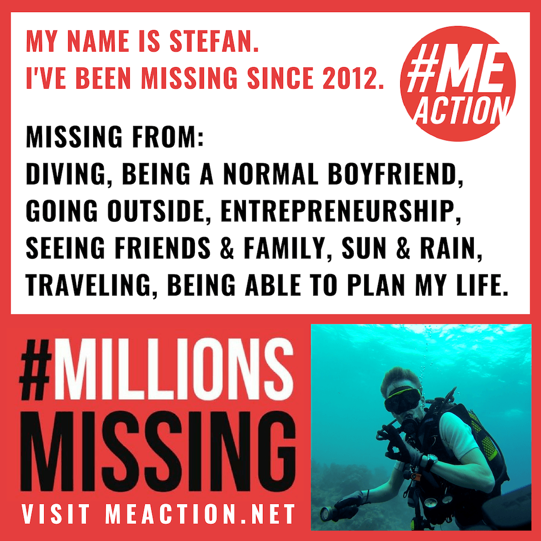 Stefan has been missing diving, going outside, entrepreneurship, seeing friends and family, sun and rain, planning his life since 2012. Picture of Stefan deep sea diving before he fell ill.