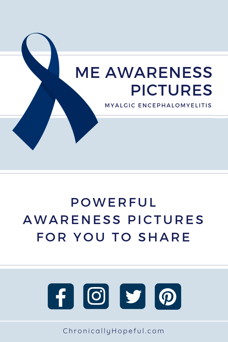 A blue awareness ribbon with caption, ME awareness pictures, powerful awareness pictures for you to share, below caption are social media logos
