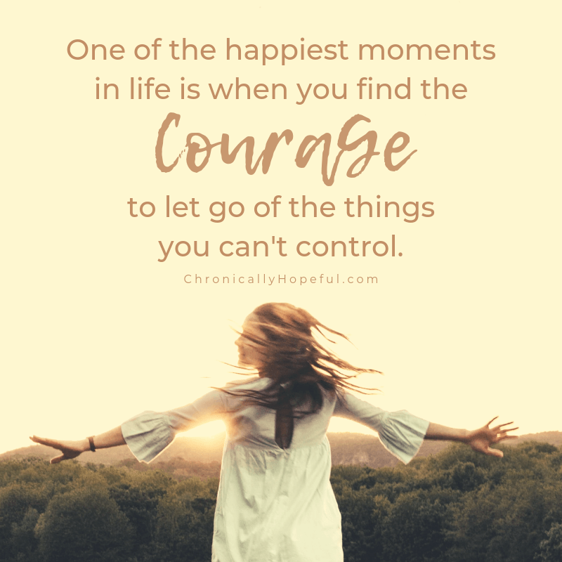 A woman dancing in a field at sunset.  Quote reads: One of the happiest moments in life is when you find the courage to let go of the things you can't control