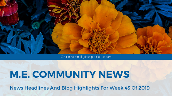 A bunch of orange flowers with bluish leaves, Title reads: M.E. Community News, News headlines and blog highlights from week 43 of 2019