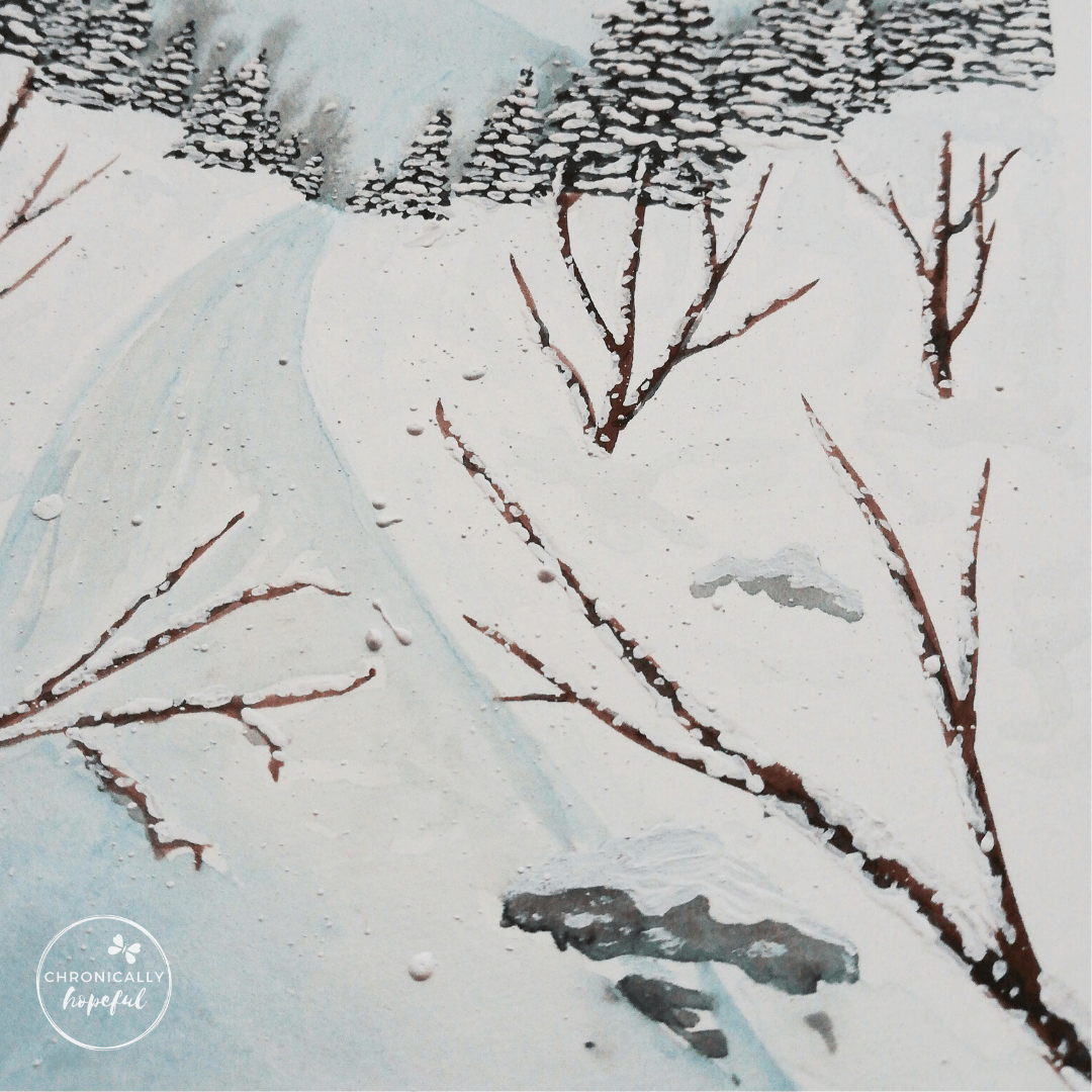 close up of snowy river bank painting