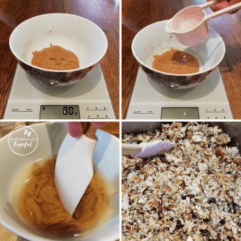 Mixing nut butter and water into granola mixture