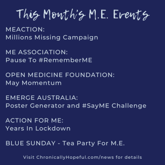 A list of this week's MEcfs Awareness Events