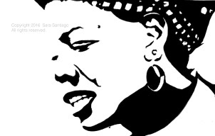 Maya Angelou #BeBraveBrain Original painting by Sara Santiago
