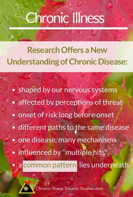 "Introducing research showing links between chronic illness and trauma. Research offers a new understanding - the process begins long before onset, involves ""multiple hits,"" occurs through our nervous systems, involves a pathway that is different for every individual even with the same chronic disease, and different mechanisms for the same disease. There is a common pattern that lies underneath these findings and affects risk for diseases such as autoimmune, type 1 diabetes, chronic fatigue (ME/CFS), fibromyalgia, heart disease, lupus and more"