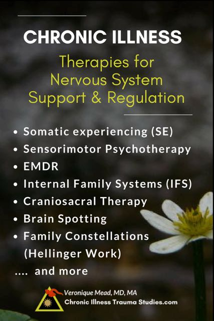 Chronic Illness Treatment. Therapies for nervous system support and regulation. Healing effects of adverse life events, subtle and overt trauma. Include somatic experiencing [SE), sensorimotor psychotherapy, EMDR, IFS, Craniosacral therapy, brain spotting, Hellinger work and other body / somatically based trauma therapies, among other tools #chronicfatigue #type1diabetes #asthma #ME/CFS #MS #RA