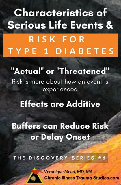 "Serious life events increase risk for type 1 diabetes. Such events do not have to be severe and include ""actual or threatened"" loss. Effects are additive. Resources and buffers can decrease risk for type 1 diabetes."