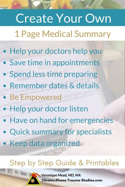 How to create your own one page medical summary for new doctor appointments. Save time, remember details, help your doctor listen, use for emergencies, give to specialists. Helpful in chronic illnesses such as MS, IBD, ME/CFS, rheumatoid arthritis / rheumatoid disease, other autoimmune conditions, MAST cells disorders, CRPS and other chronic pain and more
