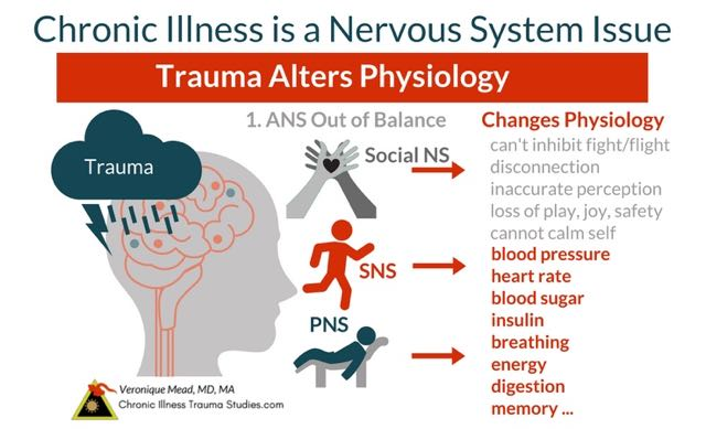 Chronic illness, trauma and the nervous system explain how life experiences affect and shape health. Trauma changes physiology such as heart rate, blood pressure, sugar and insulin levels, energy, digestion, metabolism and more. Trauma affects chronic illness by interrupting nervous system balance and fight, flight, freeze. Symptoms include hypervigilance, PTSD, fatigue, depression, anxiety, nightmares and more. #autoimmune #chronicillness #me/cfs #ra #rd #ms #ibd #fibromyalgia #parkinson's #alzheimer's #IBD Chronic Illness Trauma Studies (CITS) _Mead
