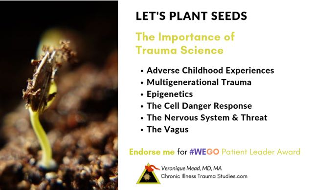 Let's plant seeds and share the trauma science - #WEGO Finalist to Win Patient Leader Award for Best Blog 2019 Veronique Mead Chronic Illness Trauma Studies