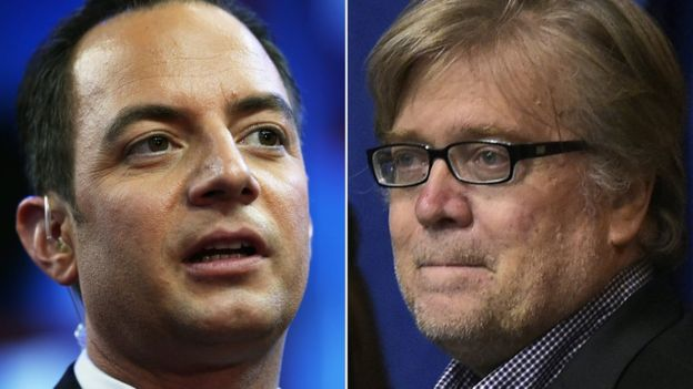 Reince Priebus (L) and Stephen Bannon have been appointed by Trump