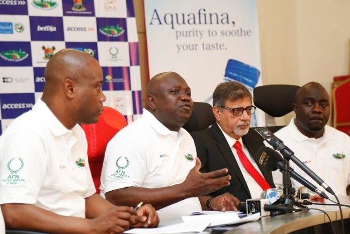 L-R: Lagos State Governor, Mr. Akinwunmi Ambode (2nd left); Group Managing Director, Access Bank, Mr. Herbert Wigwe; Managing Director, Seven-Up Bottling Company PLC, Mr. Sunil Sawhney and Consultant, Lagos City Marathon, Mr. Bukola Olopade during a Press Conference on the Lagos City Marathon 2017 at the Banquet Hall, Lagos House, Ikeja, on Sunday, November 20, 2016