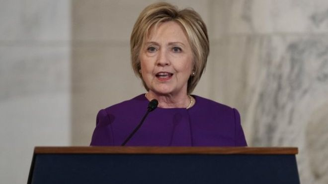 """Hillary Clinton has called for urgent action to stop the proliferation of """"fake news"""""""