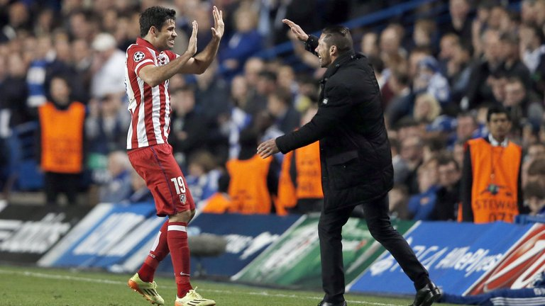 Diego Costa (L) will link up once again with Diego Simeone at Atletico