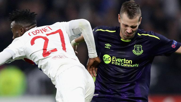 Everton midfielder Morgan Schneiderlin was dismissed for two bookings