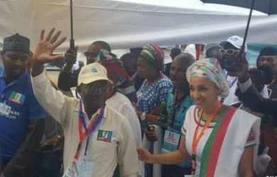 Adams Oshiomhole and his wife arrive at the national convention