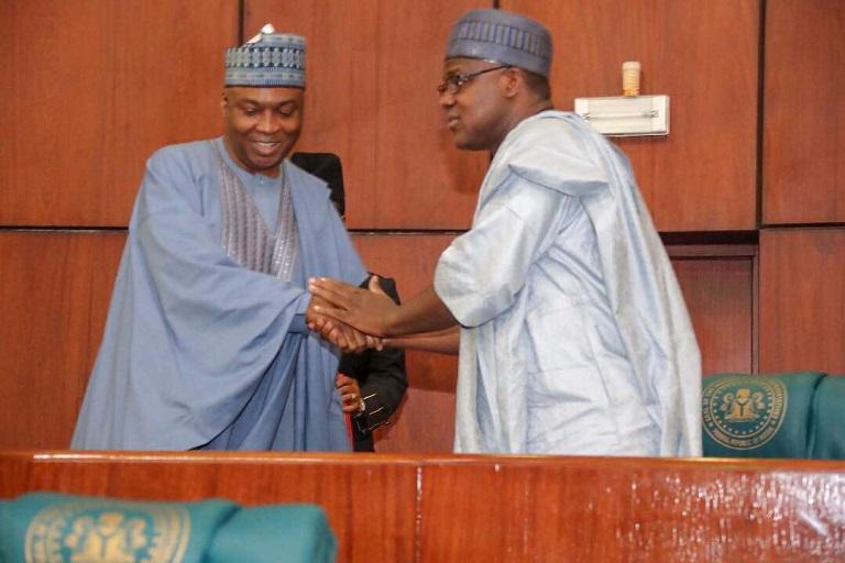 Done Deal: Senator Bukola Saraki and Honourable Yakubu Dogara seals it with a handshake