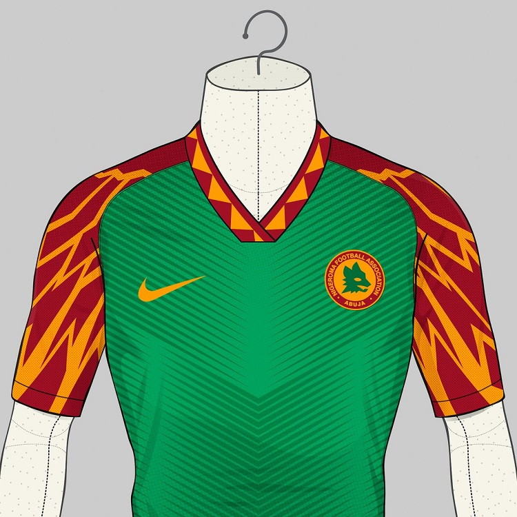 Roma models jersey after that of Super Eagles of Nigeria