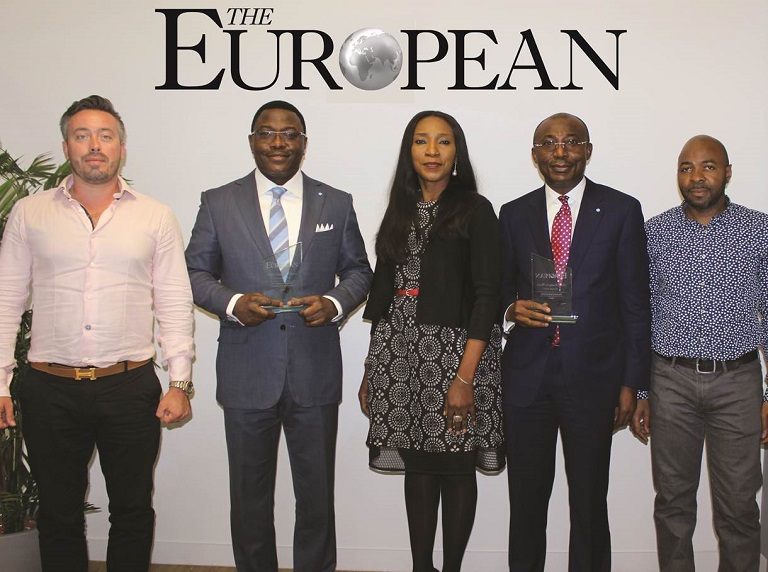 L-R: Mr. Janos Nieddu, Director, Chase Publishing, Mr. Obeahon Ohiwerei, GMD/CEO, Keystone Bank Ltd, Mrs. Omobolanle Osotule, Divisional Head, Marketing & Corporate Communications, Keystone Bank Ltd, Mr. Abubakar Sule, Deputy Managing Director, Keystone Bank Ltd, Mr. Edvaldo Naval, Global Head of Projects, Chase Publishing at the European Global Banking & Finance Awards 2018 where Keystone Bank was conferred with the 'Most Innovative Bank of the Year Africa 2018 and the GMD/CEO, with the 'Best Banking CEO 2018, in London, United Kingdom on Friday July 20, 2018