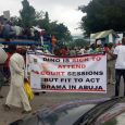 Nigerians protest against Senator Bukola Saraki and constituency projects in Nigeria