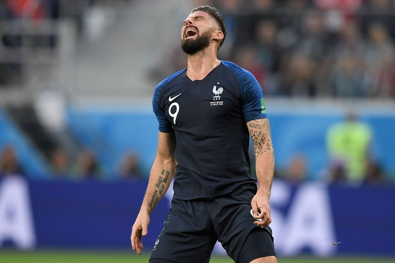 Olivier Giroud has failed to register a shot on target at the 2018 World Cup