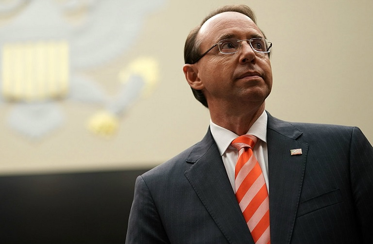 Rod Rosenstein says 12 Russian intelligence officers have been indicted over US election hack