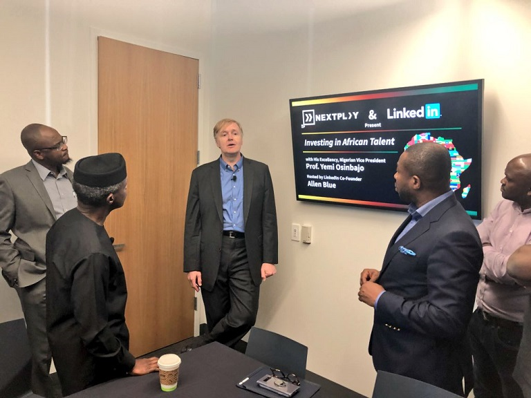 Vice President Yemi Osinbajo and co-founder of LinkedIn Allen Blue