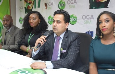 L-R: Afolabi Otufowora, Regional Head, Marketing Communications, Adunola Agboola, Brand Specialist, Ashok Israni, Regional Chief Marketing Officer and Iretiola Jonathan, Brand Specialist, all of Globacom, at the media launch of Glo Oga SIM, in Lagos on Wednesday