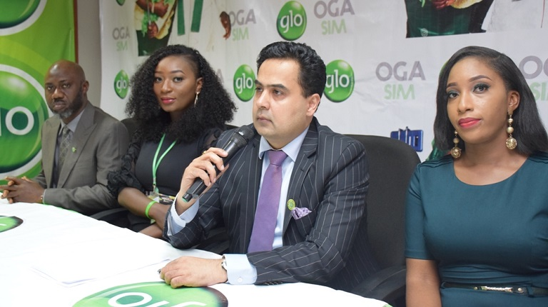 L-R: Afolabi Otufowora, Regional Head, Marketing Communications, Adunola Agboola, Brand Specialist, Ashok Israni, Regional Chief Marketing Officer and Iretiola Jonathan, Brand Specialist, all of Globacom, at the media launch of Glo Oga SIM, in Lagos on Wednesday