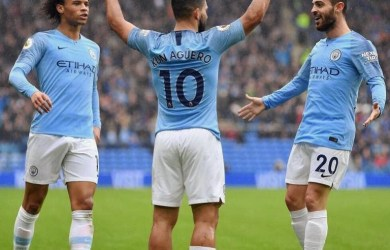 Manchester City beat Cardiff 5-0 as Riyad Mahrez scored his first two goals