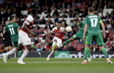 Pierre-Emerick Aubameyang is the first player to score on his Premier League and European debut for Arsenal since Alexandre Lacazette