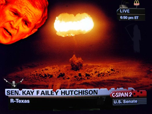C-SPAN COVERS NUCLEAR ATTACK AS BUSH LOOKS OVER IT