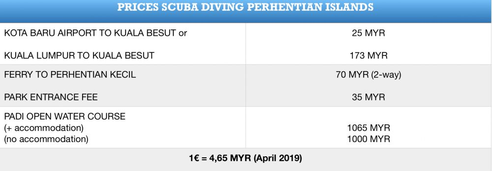 Prices scuba diving Perhentian islands