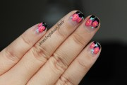 spring flowers french manicure
