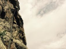 Me rappelling off multi-pitch