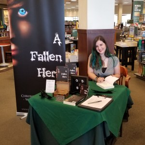 Author Sara A. Noe at Barnes & Noble book signing for Chronicles of Avilesor: War of the Realms, A Fallen Hero