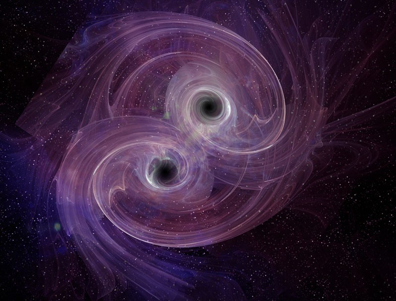 An artist's impression of two colliding black holes