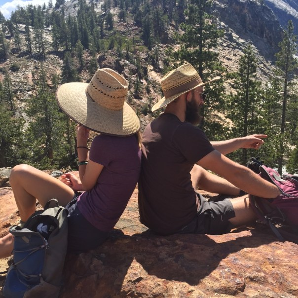 The author and her boyfriend taking a break in Tuolumne Meadows. Photo by Chanel Marshall.