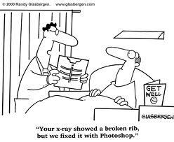 """Nouvelle technologie:""""Votre radio montrait une brisure de la hanche, mais nous l'avons réparée avec Photoshop""""."""