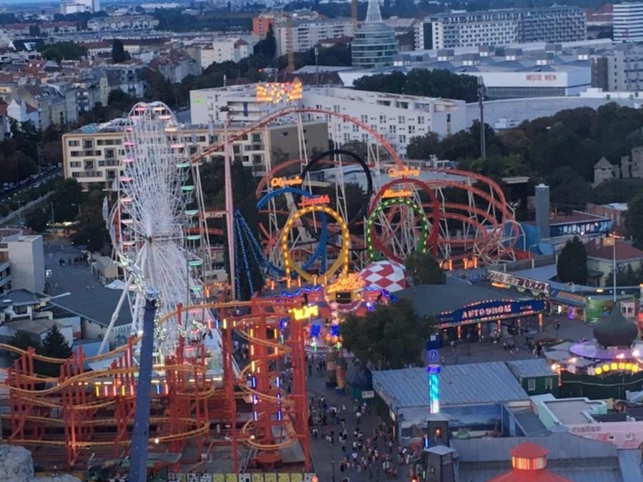 vue du parc depuis la grande roue du prater à Vienne