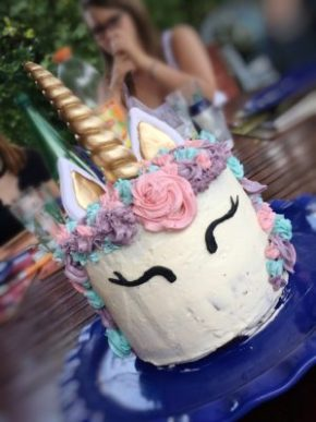 Rendu final du gâteau licorne