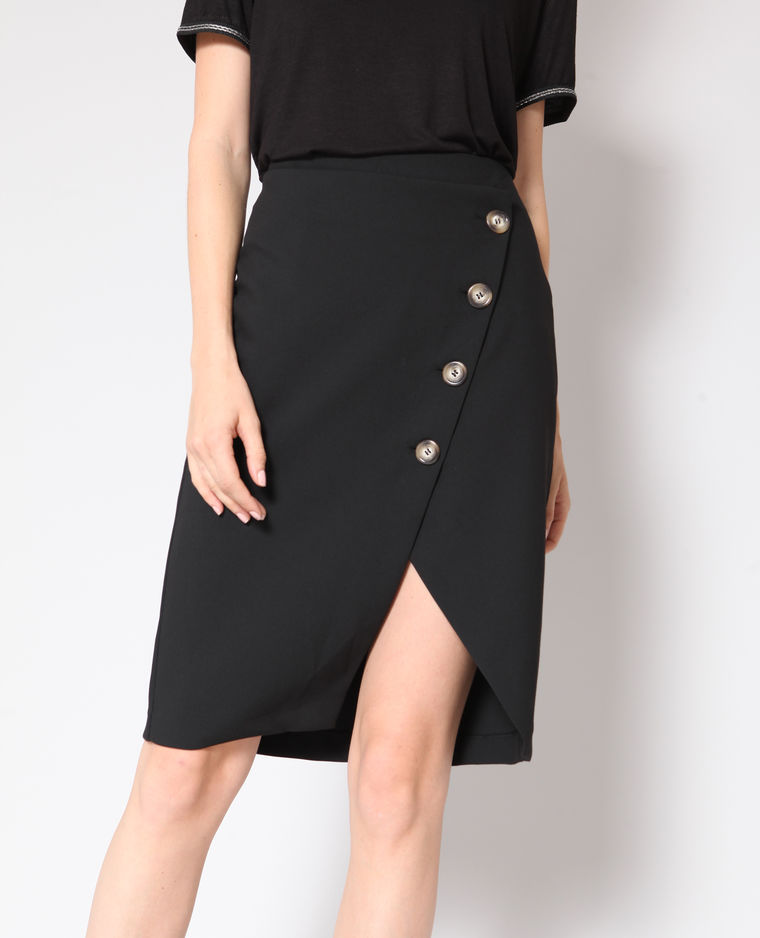 jupe mi-longue à boutons noire pimkie