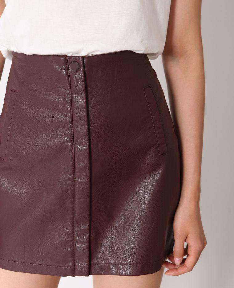 jupe faux cuir bordeaux pimkie