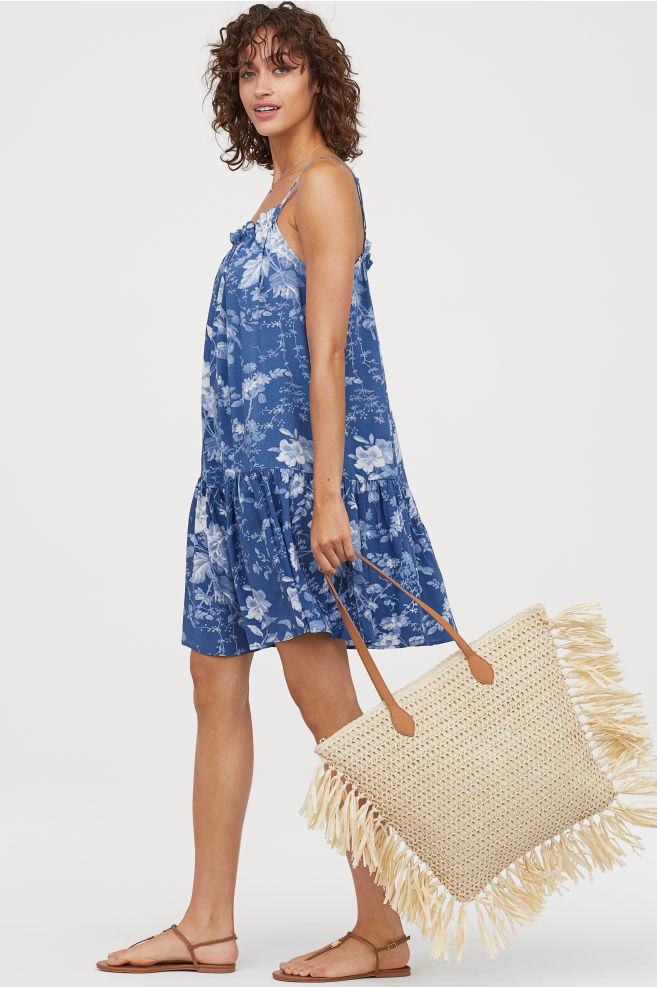 robe h&m bleu fleurie été