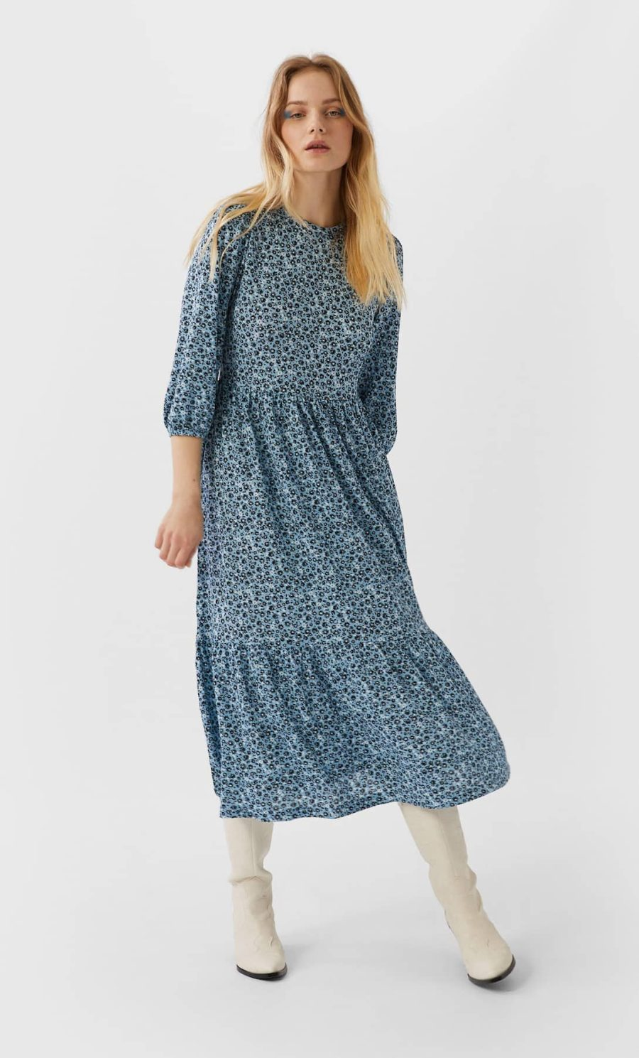 robe longue fleurie bleu