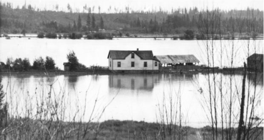 A file photo of flooded farmland in the Dewdney area of the Fraser Valley in 1936.